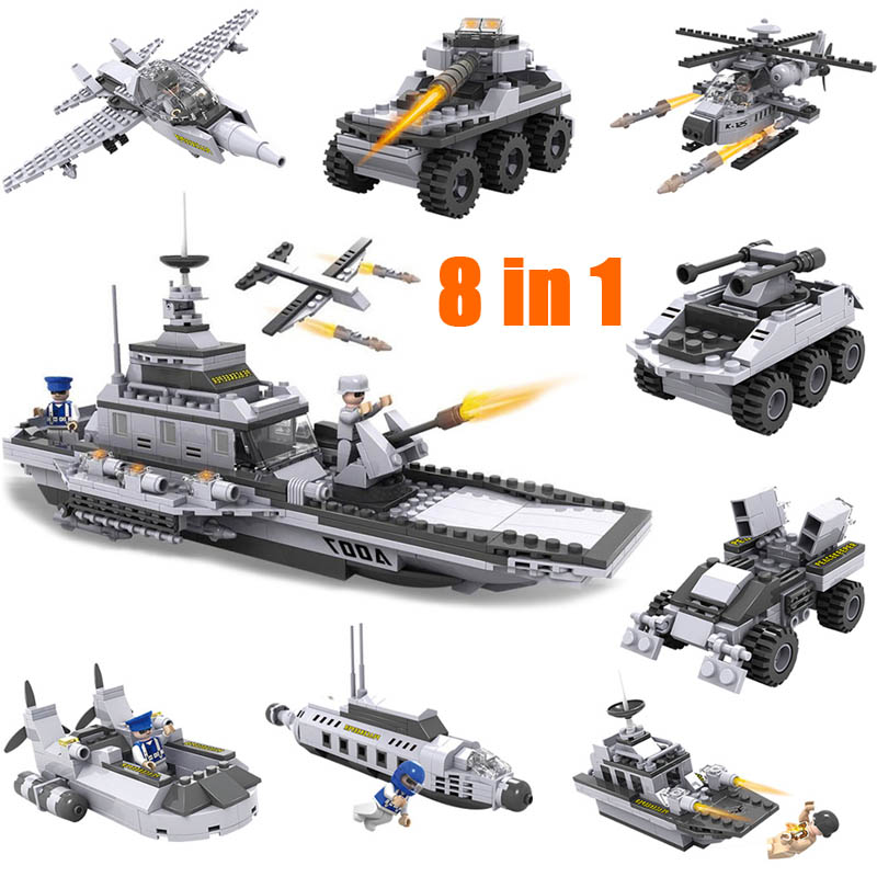 743pcs/set DIY Educational 8 in 1 Armed Building Blocks Model Military Weapon Ship Tank Fighter Assembling Bricks Toys Kids cogo 743pcs set diy educational 8 in 1 armed building blocks model military weapon ship tank fighter assembling bricks toys kids