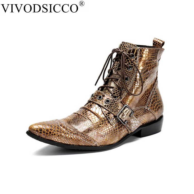 купить VIVODSICCO New Punk Genuine Leather Men Ankle Boots Pointed Toe Lace Up Mens Military Cowboy Boots High Top Strap Cool Men Shoes по цене 6201.37 рублей