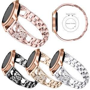 Image 1 - 20mm 22mm Diamant Metalen Band Voor Samsung Gear Sport S2 S3 Galaxy Horloge 42mm 46mm Actieve band Voor Amazfit Bip Huawei GT 2 Pro