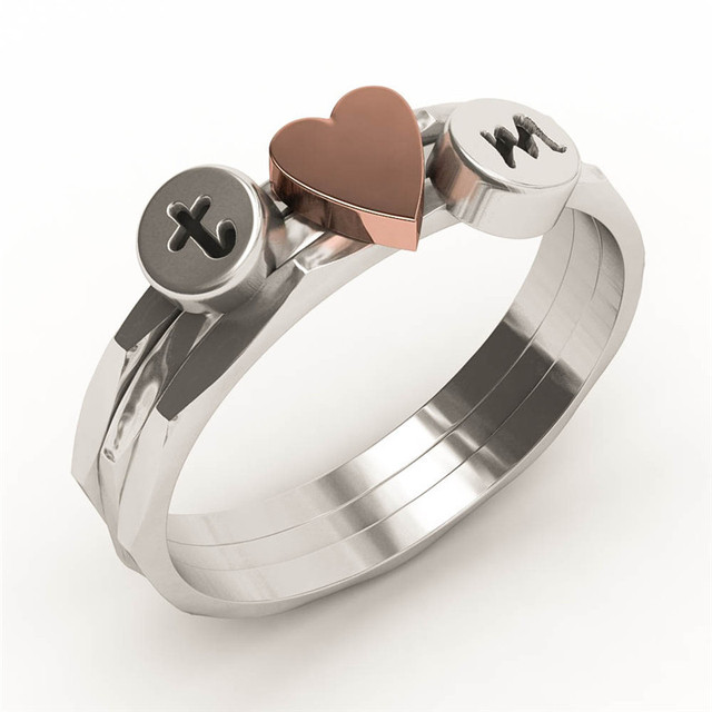 EVBEA Custom Initial Ring Antiuqe Stackable Knuckle His and Hers Weeding Ring Se