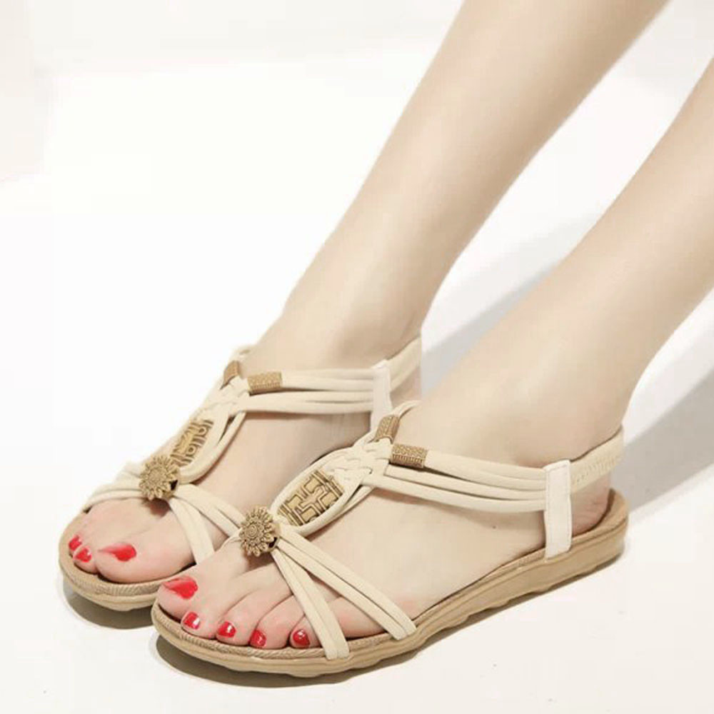 2019 Women's Sandals Spring Summer Ladies Shoes Bohemia Sweet Beaded Sandal Clip Toe Beach Shoes Casual Flat Heel Ankle Loafers
