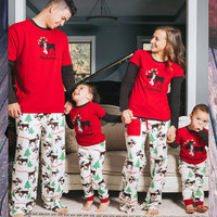 Family Christmas Pajamas 2017 Christmas Elk Print Family Matching Outfits Fashion Patchwork Long Sleeve Family Look