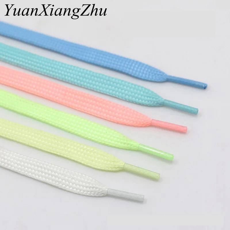 1Pair Luminous Shoelace Athletic Sport Flat Shoe Laces Glow In The Dark Night Color Fluorescent Shoelace 80/100/120/140CM YG-2 1pair 120cm sport luminous shoelace glow in the dark night color fluorescent shoelace athletic sport flat shoe laces hot selling