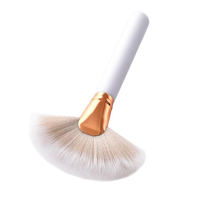 1 unids suave cosmética gran ventilador Cepillos Fundación Colorete er Polvos de maquillaje highlighter Cepillos Polvos de maquillaje limpieza del polvo Cepillos es Cosméticos herramienta