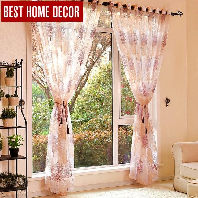 Best decorazione domestica finito sheer tende della finestra per soggiorno camera da letto moderna di burnout tende di tulle trattamento di finestra tende