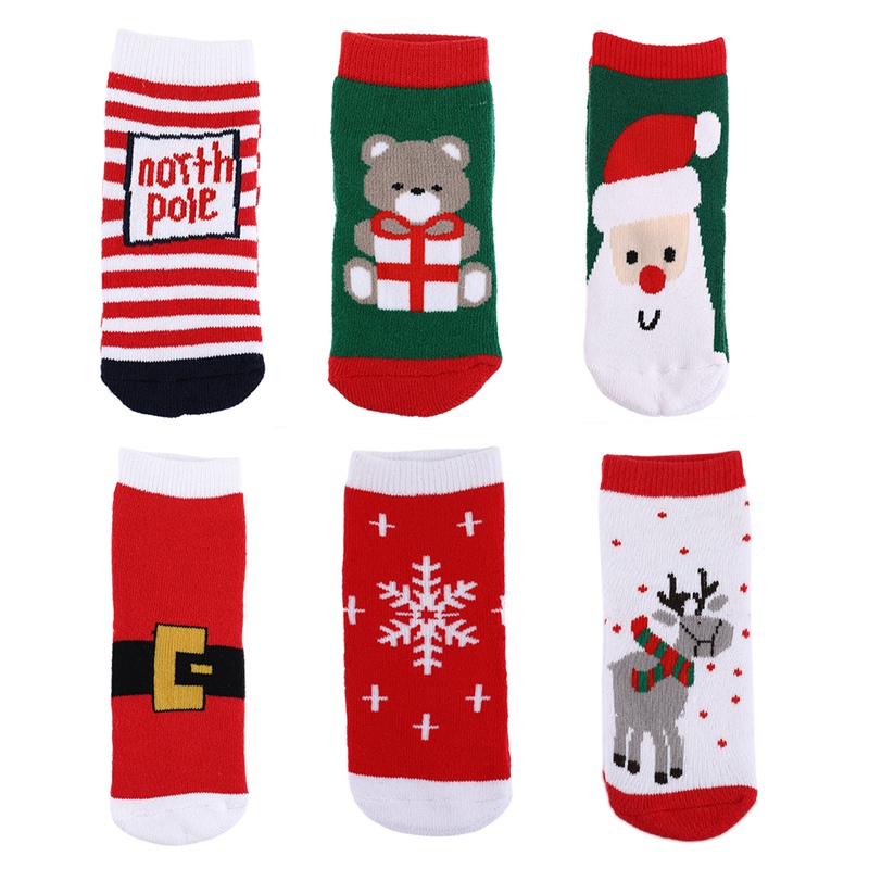 2pcs/pair Christmas Kids Warm Slipper Socks Snowflake Deer Santa Claus Bear Printed Cotton Baby Xmas Gift Cute Jacquard Socks