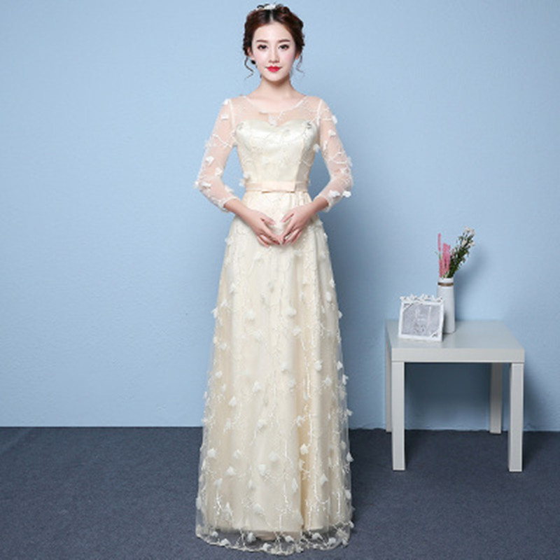 LAKD3007G#Net yarn embroidery gray bride dresses long summer 2017 ...