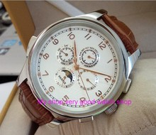 44MM PARNIS Automatic Self-Wind movement white dial multi-funtion men's watch Mechanical watches 79A