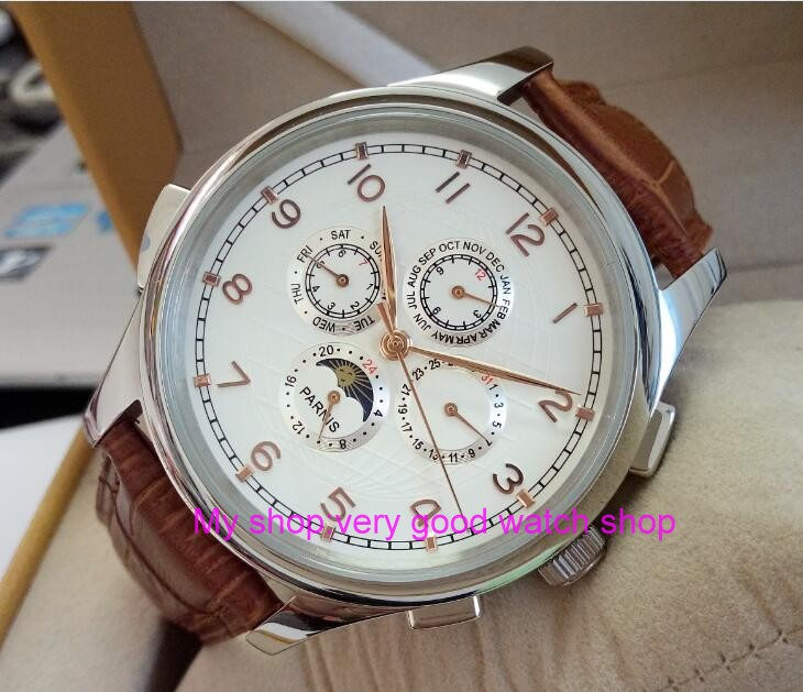 лучшая цена 44MM PARNIS Automatic Self-Wind movement white dial multi-funtion men's watch Mechanical watches 79A