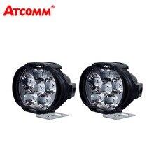 Atcommбыл из 2 предметов мотоциклетные светодиодный фар 2000lm 20 Вт 6500 К 9-85 В Универсальный светодиодный moto прожектор лампы самокатов противотуманных фар