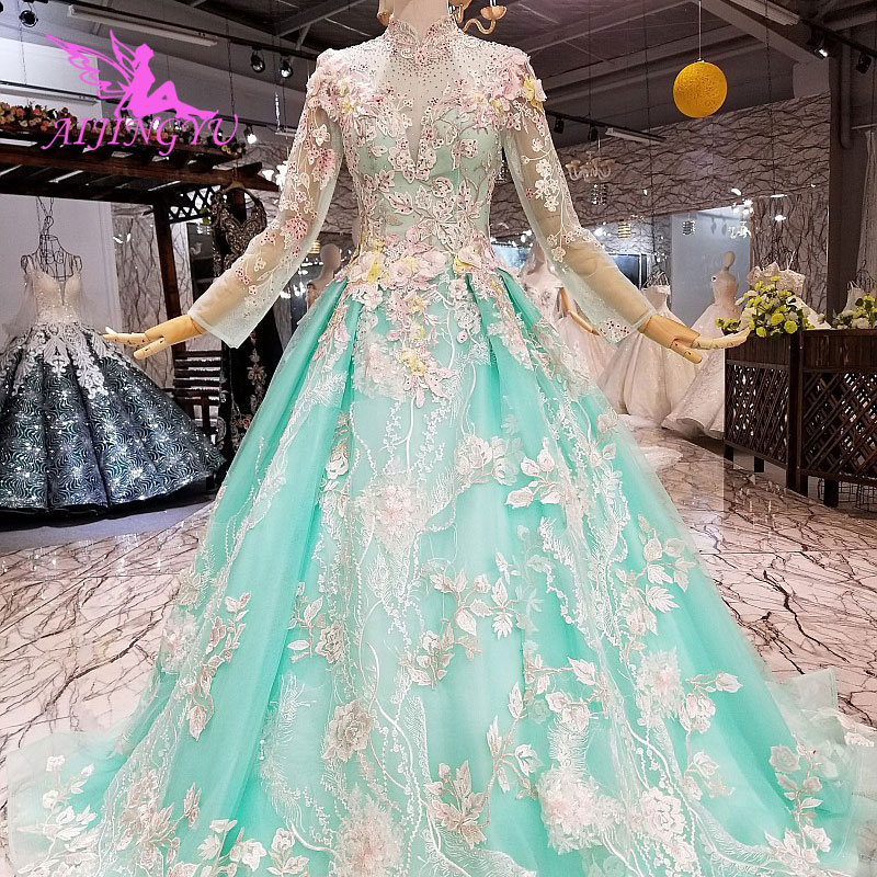 AIJINGYU Satin Wedding Dress 2019 Gowns Bridal With Sleeves Romantic Love Tulle Sexy Illusion Gown Wedding Lace Top
