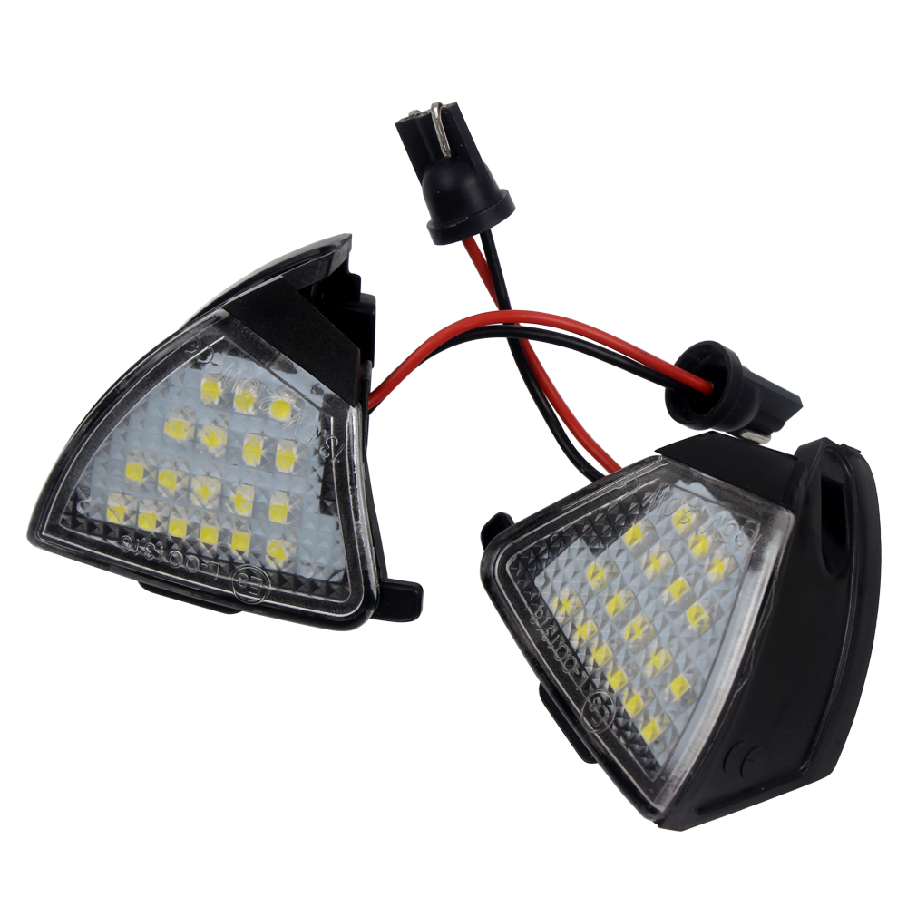 2 Pcs Rearview Mirror Lamp Error Free LED Under Side Mirror Light For VW Golf 5 Passat Jetta EOS Light Source Puddle Lamp led license number plate light lamp 18smd for vw caddy transporter passat golf touran jetta for skoda no error