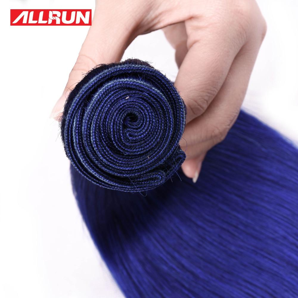 Allrun Hair 1 Piece Blue Color Burmese Straight Human Hair Weave Bundles 16-28inch Remy Hair Free Shipping