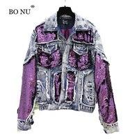 BONU Sequins Spliced Thick Denim Jacket For Women Loose Fashion Harajuku BF Short Jean Coat Unisex Autumn Female jacket