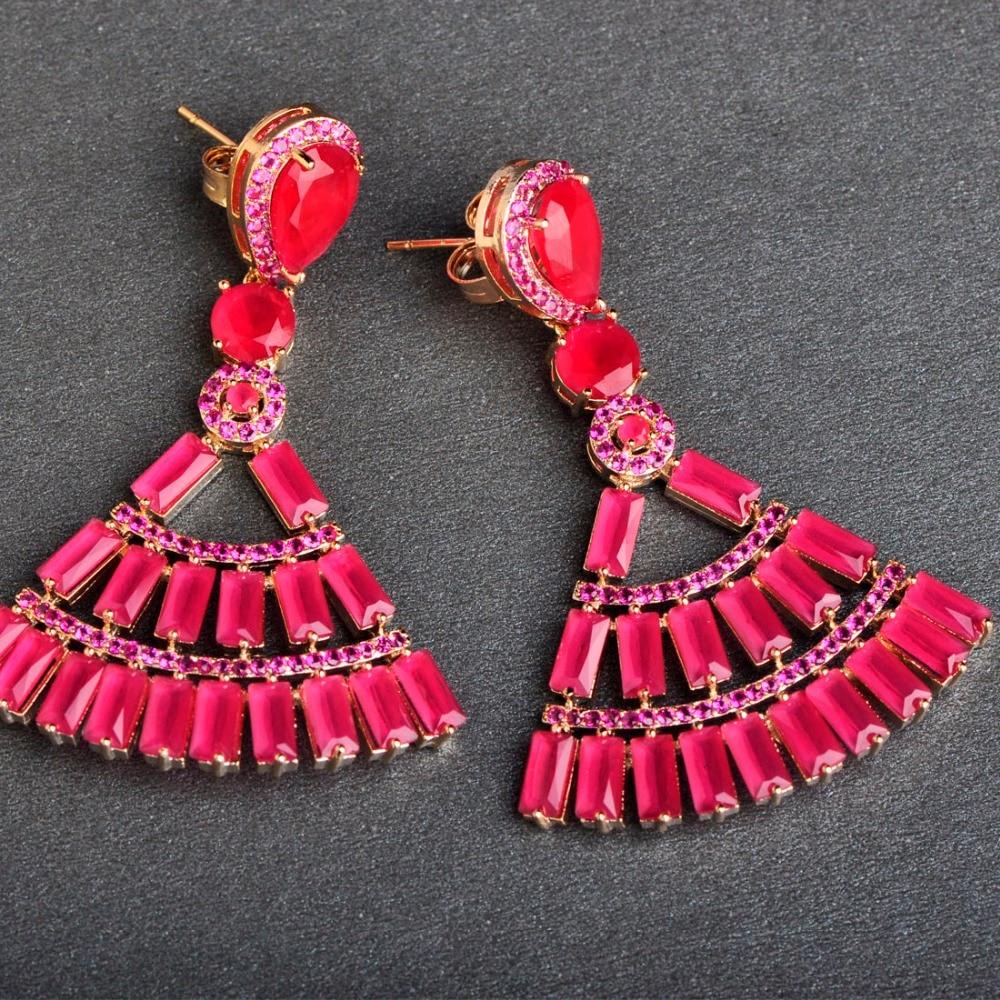 Dazz Luxury Womens Big Size Long Earring Gold Color Milky Pink Red Cubic Zirconia Copper Dangle Drop Bridal Wedding Earrings