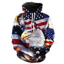 ZOGGA Brand Men Hoodies 3D Casual Loose Mens Hooded Sweatshirt American Flag Printed Bald Eagle Pullovers Man Hoodie Sweatshirts