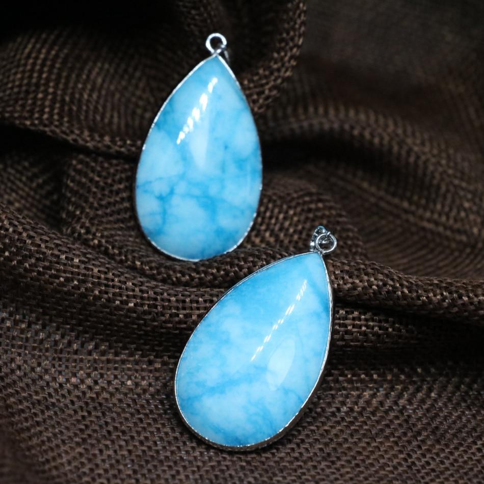 380375afb5d12 Livraison gratuite mode grand teardrop bleu pierre calcédoine jades  pendentif fit bricolage chaîne collier pour les femmes bijoux élégants B1855