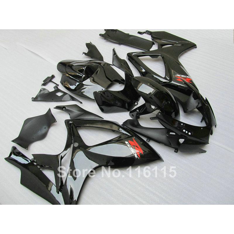 Injection Motorcycle fairing kit for SUZUKI GSX-R600/750 K6 2006 2007 all glossy black GSXR600 GSXR750 06 07 fairings set NG39