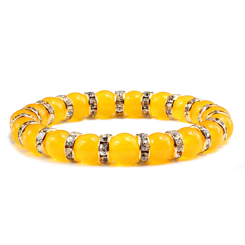 Trendy Couples Distance Bracelet Men Yellow Chalcedony Natural Stone Crystal Rhinestone Beaded Bracelets for Women Lover Jewelry
