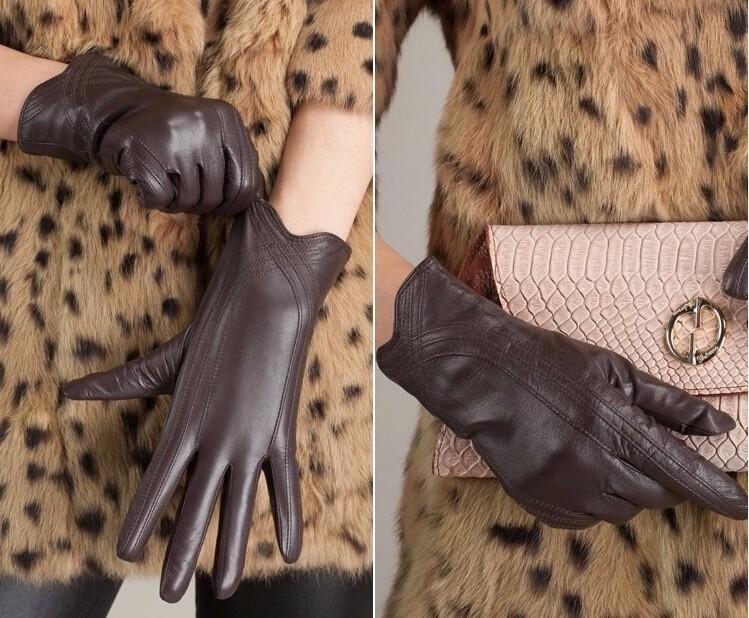 High Quality Women Genuine Sheepskin Winter Women Leather Gloves Lady knitting lined Warm Winter Mittens women gloves 40