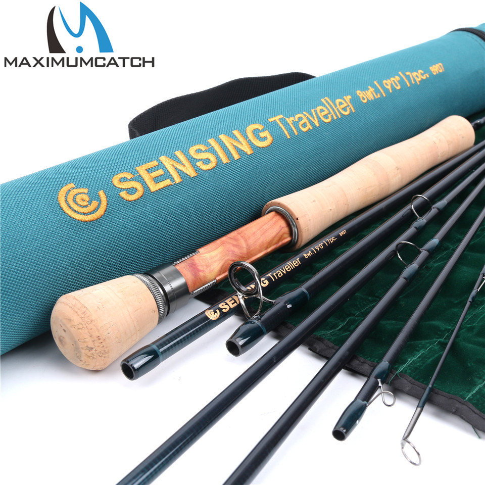 Maximumcatch 9ft 5/6/7/8wt 7pcs Sensing Traveler Fly Rod Half-Well Fast Action Carbon Fiber Fly Fishing Rod with Cordura tube maximumcatch nano fly rod im12 40t toray carbon fast action super light with cordura tube fly fishing rod 3 4 5 6 7 8wt 8 4 9