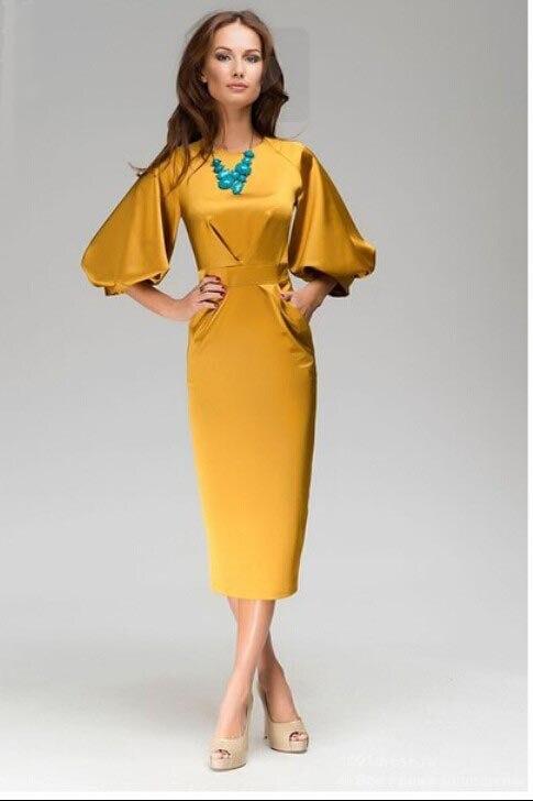 aliexpresscom buy summer maxi dress 2015 women gold color sxl o neck lantern sleeve collect waist slim work wear dress ol from reliable dresses plus - Gold Color Dress