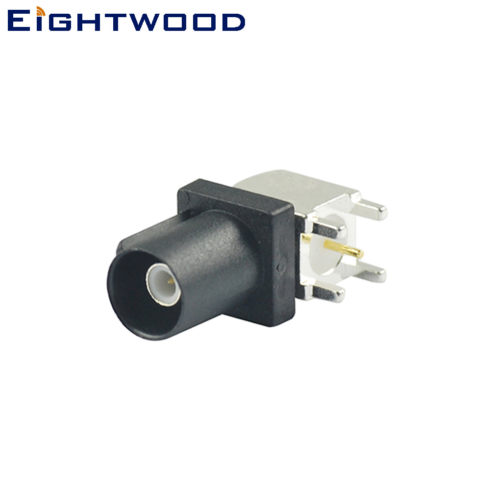 Eightwood Fakra Code A Plug Male PCB Mount Angled RF Connector Black/9005 For Car Radio Without Phantom Supply Antenna Reciever