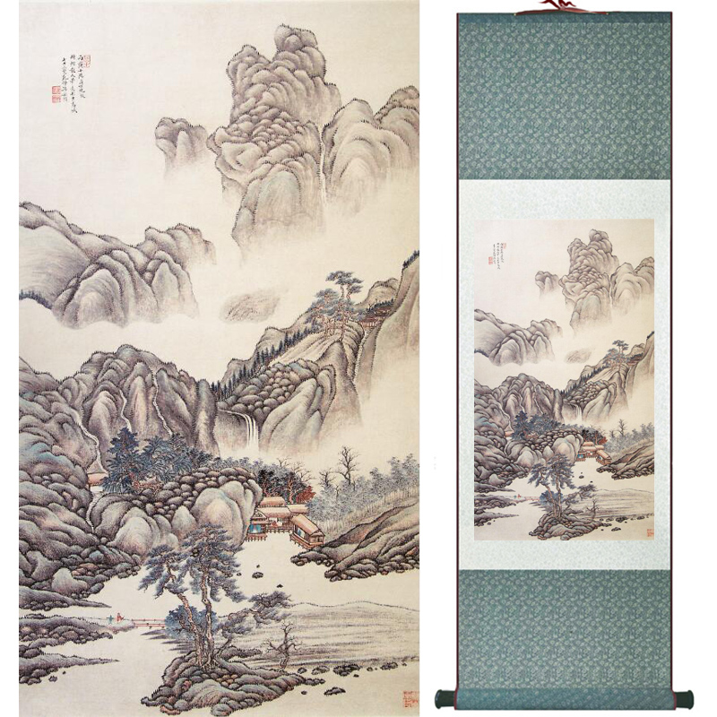Mountain and river painting Home Office Decoration Chinese scroll painting mountain and River painting LTW2017112603