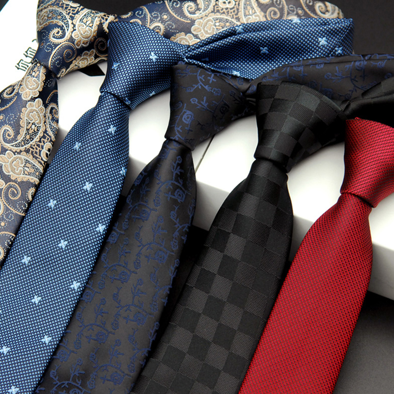 High Quality New Man Woman Slim Skinny Silk Tie Groom's Wedding Plaid Polka Dot 6CM Necktie Business Narrow Woven Neck Ties