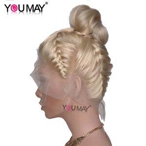 Prosto 360 czołowa koronki peruka ludzkie włosy o poziomie gęstości 150% peruka 613 kolor wstępnie oskubane z dzieckiem włosy brazylijski koronki przodu możesz Remy