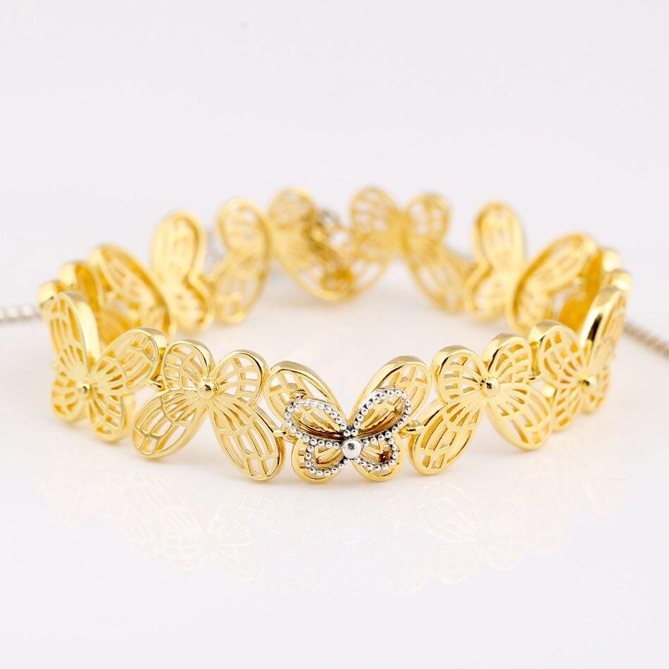 New 925 Sterling Silver Bracelet Shine Openwork Butterflies Sliding Bracelet Bangle Fit Women Bead Charm Diy Pandora Jewelry