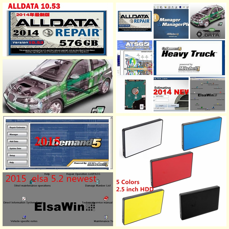 Auto repair software Alldata v10.53+mitchell on demand 2015+ElsaWin+Vivid workshop data+atsg DHL free ship 50in1TB HDD USB3.0 alldata and mitchell software alldata 10 53v auto repair software mitchell ondemand 2015v vivid workshop data manager plus