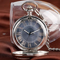 Classic Luxury Gray Dial Gift Fashion Fob Elegant Chain Roman Numerals Automatic Mechanical Men Pocket Watch Transparent Case