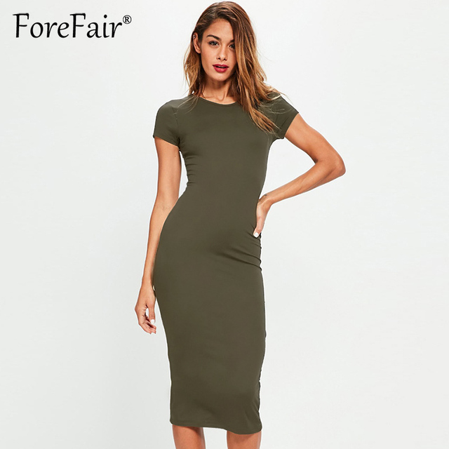 c0a51bc0cbe Forefair Women Summer Dress 2018 Short Sleeve O Neck Cotton Slim Bodycon  Dresses Army Green Black