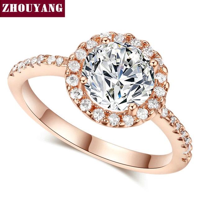 ZHOUYANG Wedding Ring For Women Round Cut Cubic Zirconia Engagement Rose Gold Co