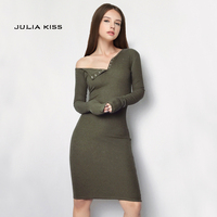 Fashion Design Women One Shoulder Bodycon Mini Dress Sexy Front Buttons Rib Dresses Long Sleeve Party