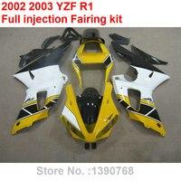 Injection molding fairings for Yamaha YZF R1 02 03 yellow white black bodywork parts fairing kit YZFR1 2002 2003 BC43