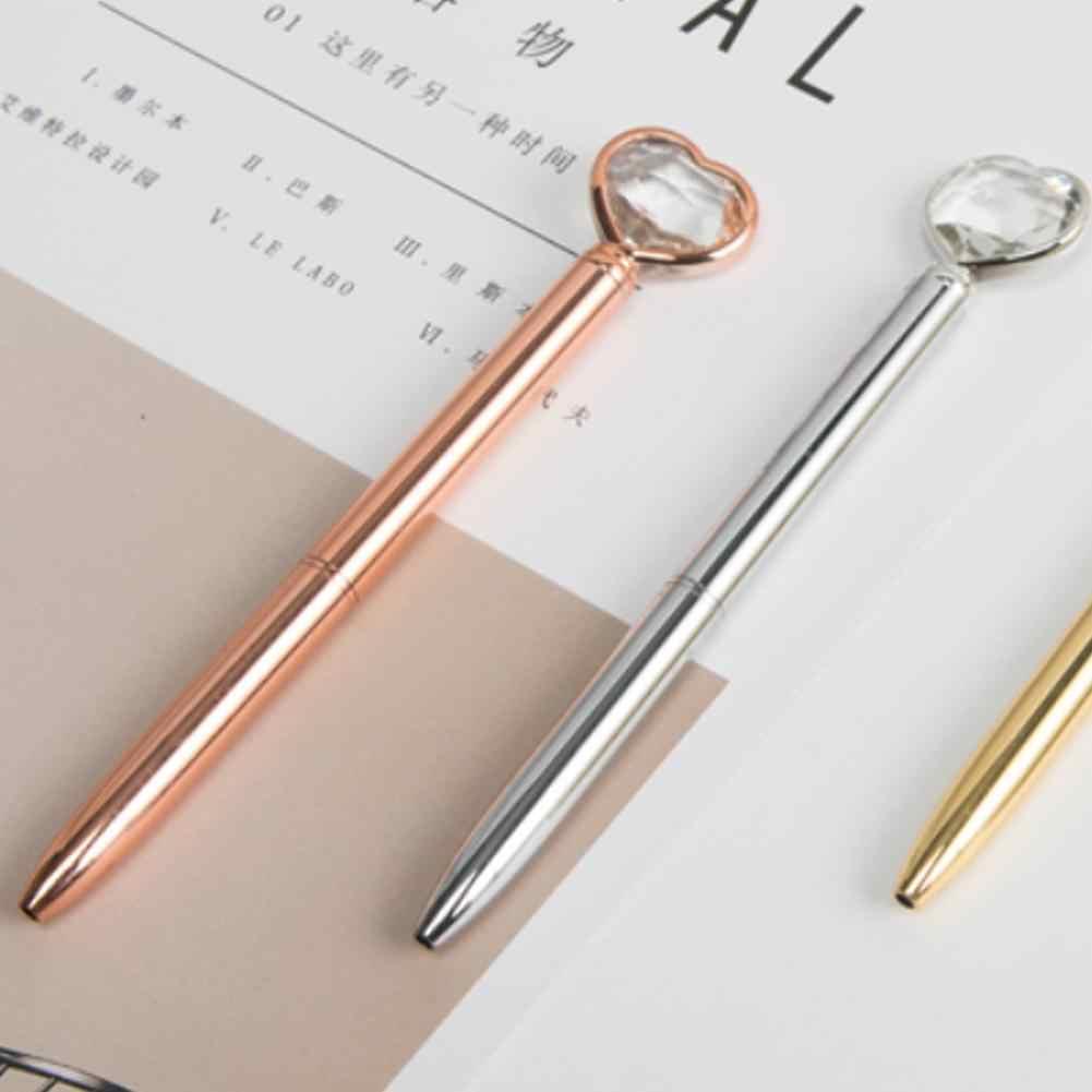 1 Pza gran quilate diamante cristal pluma gema bolígrafo anillo boda Oficina Metal anillo rodillo bola pluma papelería oficina cosas