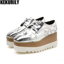 Women Shoes Star Wedge Sneakers Patent leather Platform lace up Oxfords  Square toe Creepers Bullock shoes black Champagne silver cc12bf4cd1b8