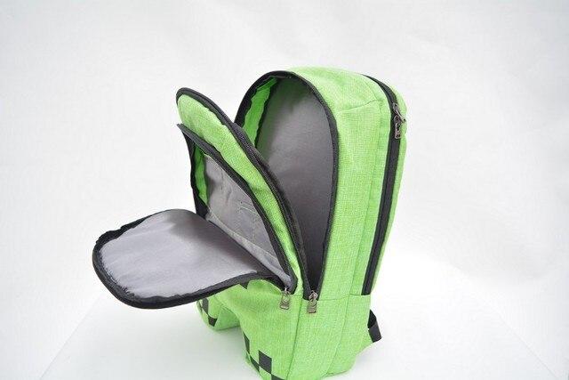 Hot-sell vender creeper minecraft mochila unisex de alta qualidade 16 oz zip lona mochilas saco escola mochilas bolsas jogo presentes