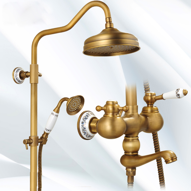 High-grade Good Price Dual Handles with 8 Brass Shower Head Antique Brass Wall Mounted