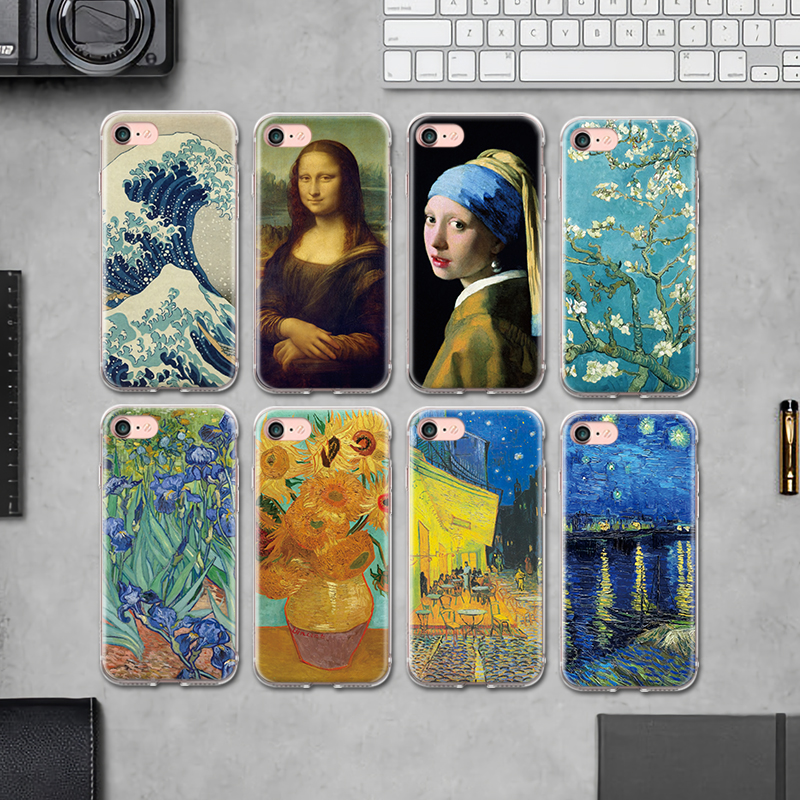 Enthusiastic Art Paintings The Birth Of Venus Phone Case For Iphone Xs Max Xr Mona Lisa Van Gogh Funny Cover For Iphone 7 8 6 6s Plus 5 5s Se Half-wrapped Case