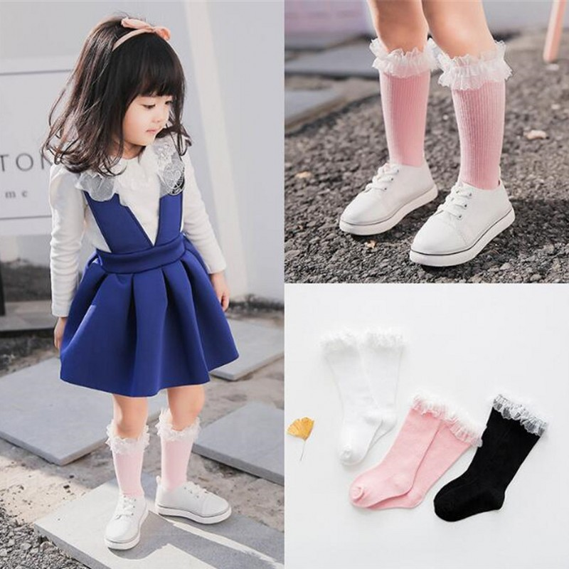 Baby Girls Socks Knee High With Lace Princess Socks Girl Cute Baby Socks Long Tube Kids Child Booties Vertical Striped Wear 1-10