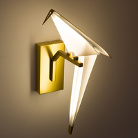 Novelty LED wall lamp paper crane origami bird wrought iron lights creative brass metal for sconces foyer aisel parrot free ship