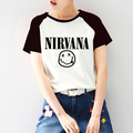 2017 Summer Nirvana Print Raglan Short Sleeve Tshirt Raglaned T shirt Women Harajuku Kawaii T-shirt Tee Shirts Emoji Rock Punk