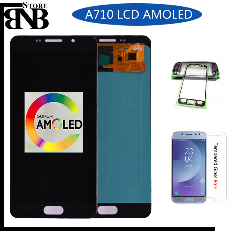 Super Amoled lcd Per Samsung Galaxy A7 2016 A710 A710F A710M A710Y A7100 Display LCD con Touch Screen Digitizer AssemblySuper Amoled lcd Per Samsung Galaxy A7 2016 A710 A710F A710M A710Y A7100 Display LCD con Touch Screen Digitizer Assembly