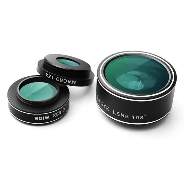 Con Caja de Metal A Prueba de Golpes de Pantalla 3in1 198 grados de ojo de Pez Lentes de Pescado ojo de gran angular 0.63x 15x lente macro para samsung s7 edge