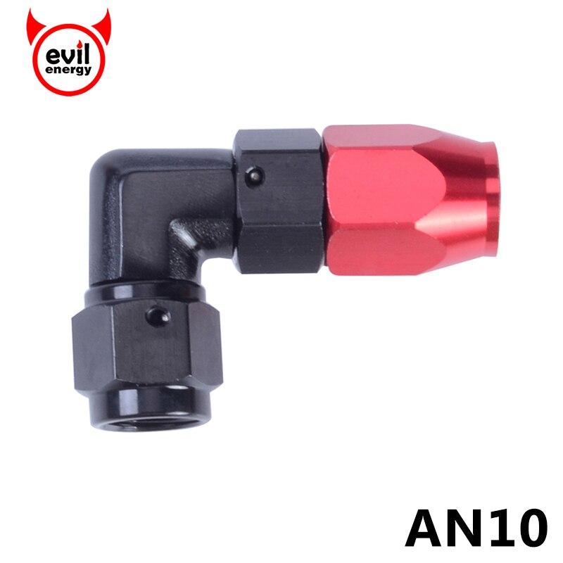 Злые энергии AN10 насильственные шланг Конец 90 градусов Алюминий фитинги топливный трубопровод адаптер масляный фитинги красного и черного цветов