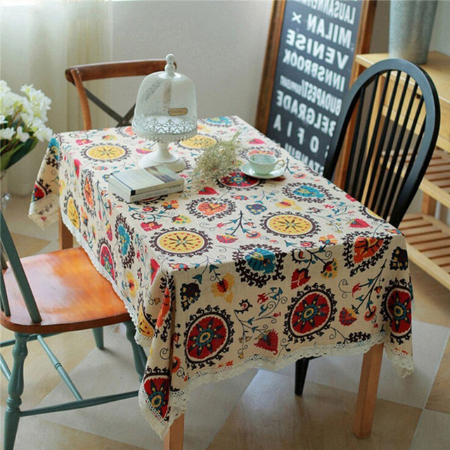 Home Decoration Vintage Rectangular Cotton Linen Lace Sun Flower Tablecloth  Washable Tablecloth Dinner Picnic Table Cloth