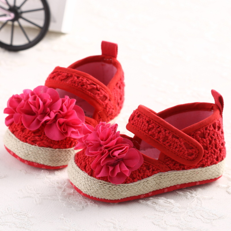 b10f50781f US $3.49 30% OFF|Autumn Red Mary Jane Flower Infants Crochet Knitted Baby  Moccasins Girls Scarpe Neonata Baby Shoes For Birthday Soft Soled-in First  ...